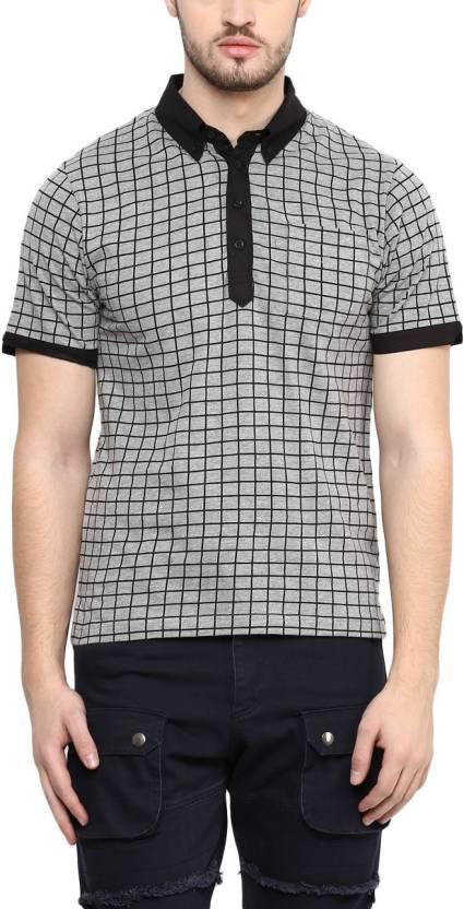 495db1893 Hypernation Checkered Men's Polo Neck Grey T-Shirt - Buy Light Grey  Hypernation Checkered Men's Polo Neck Grey T-Shirt Online at Best Prices in  India ...