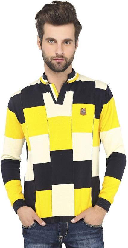3c7e0223ce Stride Checkered Men's Fashion Neck Yellow, Blue T-Shirt - Buy Navy Blue  Stride Checkered Men's Fashion Neck Yellow, Blue T-Shirt Online at Best  Prices in ...