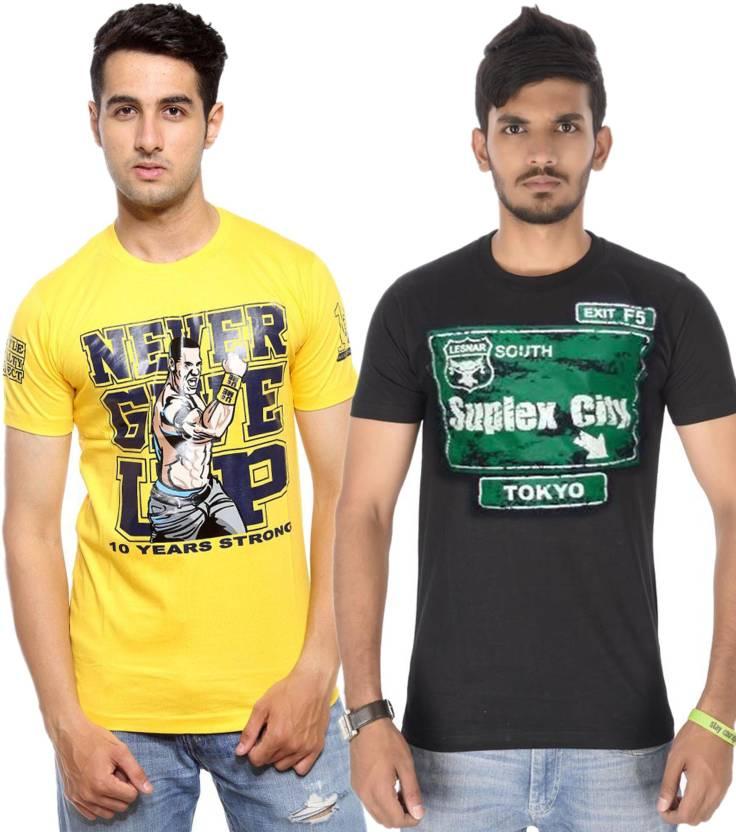 9c8cf7e3b38 WWE Printed Men s Round Neck Yellow T-Shirt - Buy Yellow
