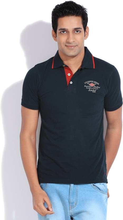 Lee Cooper Solid Men s Polo Neck Blue T-Shirt - Buy NAVY Lee Cooper Solid  Men s Polo Neck Blue T-Shirt Online at Best Prices in India  1a21f81ca6e5
