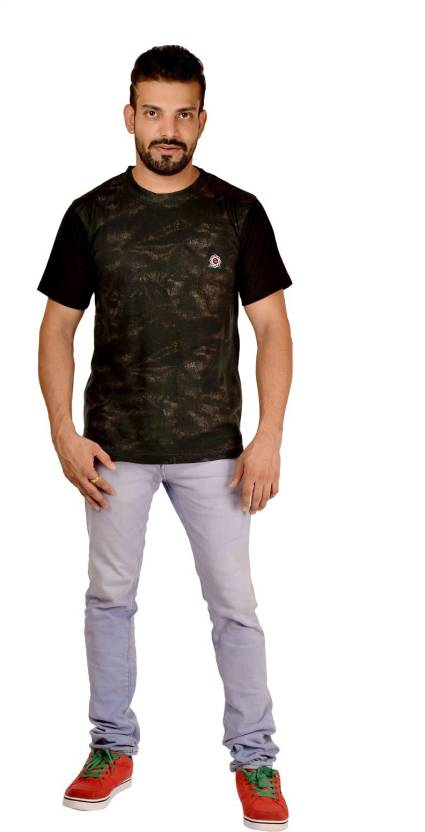 stylings Solid, Printed Men's Round Neck Green T-Shirt