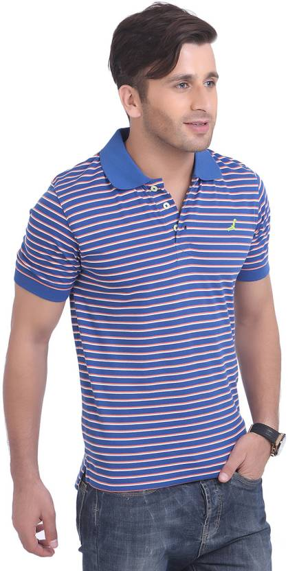 15325b357 American Crew Striped Men's Polo Neck Blue, White T-Shirt - Buy Navy Blue,  Off White and Dark Pink Stripes American Crew Striped Men's Polo Neck Blue,  ...