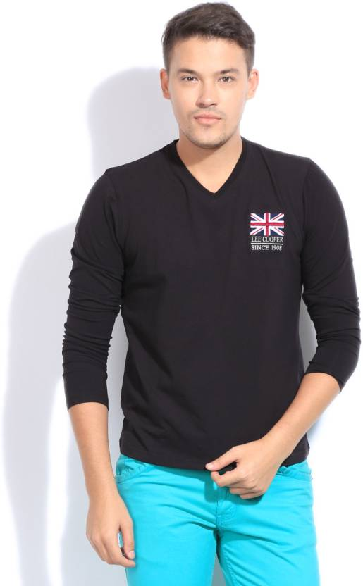 3e249e40ec5b Lee Cooper Solid Men's V-neck Black T-Shirt - Buy BLACK Lee Cooper Solid Men's  V-neck Black T-Shirt Online at Best Prices in India | Flipkart.com