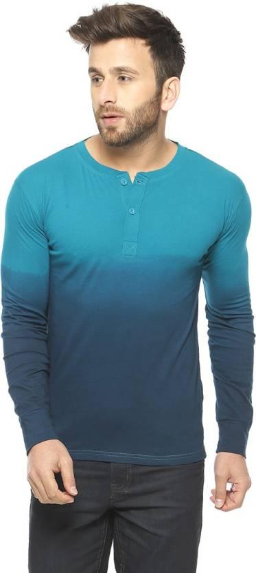 Gritstones Solid Mens Henley Blue T-Shirt