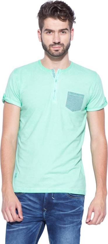 13c52323a360 Mufti Solid Men's Henley Light Green T-Shirt - Buy Mint Mufti Solid ...