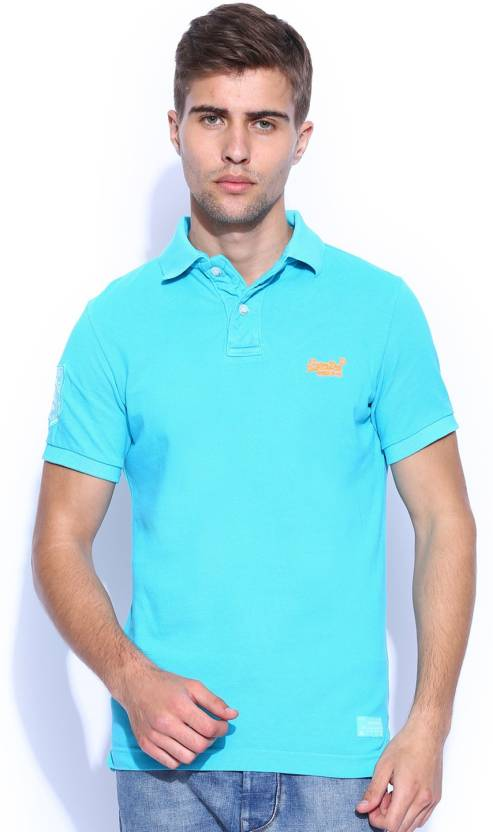 c91bc57b Superdry Solid Men's Polo Neck Blue T-Shirt - Buy Blue Superdry Solid Men's  Polo Neck Blue T-Shirt Online at Best Prices in India | Flipkart.com