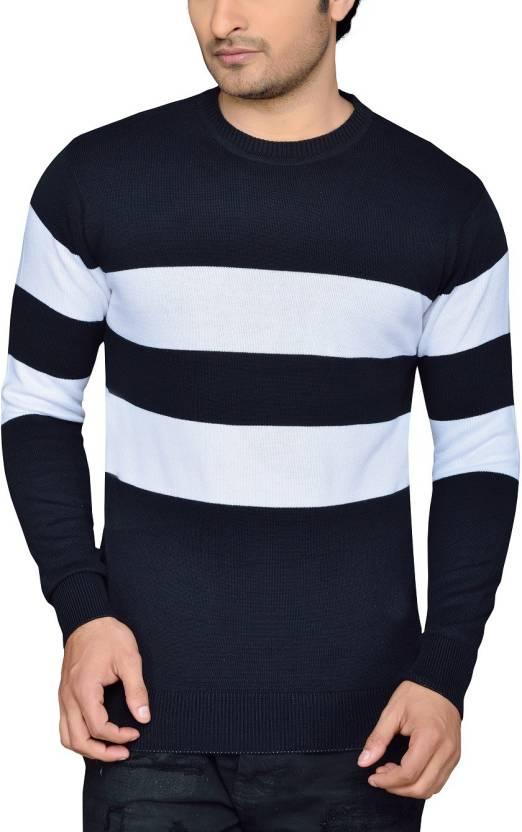 4e60f93043c Rejoice Striped Men s Round Neck Multicolor T-Shirt - Buy BLACK   WHITE STRIP R 01 Rejoice Striped Men s Round Neck Multicolor T-Shirt  Online at Best Prices ...