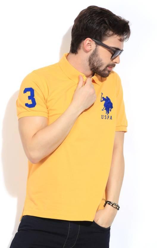ffe6d612f7 U.S. Polo Assn Solid Men's Polo Neck Yellow T-Shirt - Buy Yellow U.S. Polo  Assn Solid Men's Polo Neck Yellow T-Shirt Online at Best Prices in India ...