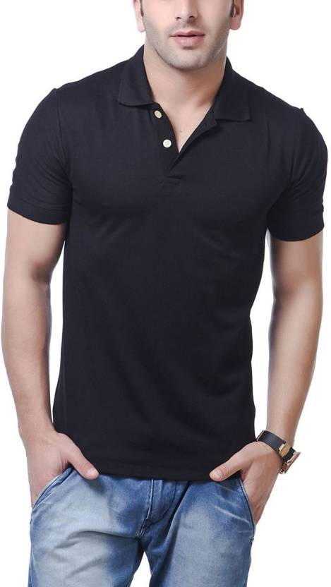 Trial Room Solid Men's Polo Neck Black T-Shirt