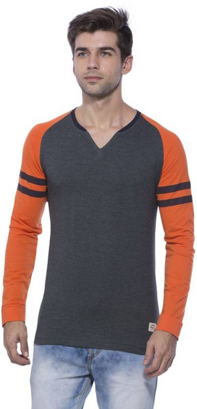 Alan Jones Solid Men V neck Grey T Shirt