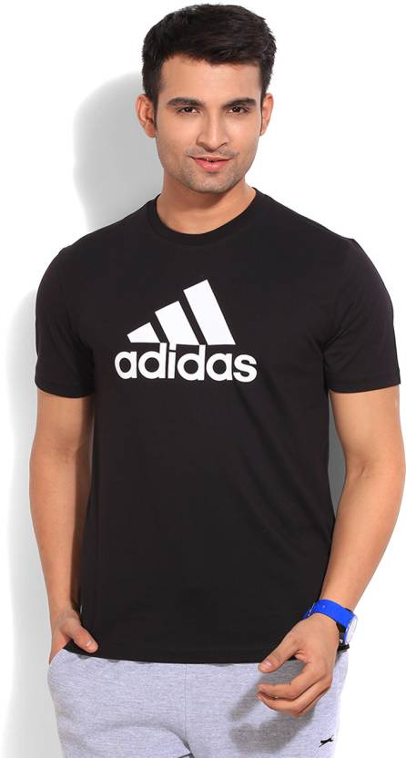 7a17a905 ADIDAS Printed Men's Round Neck Black T-Shirt - Buy BLACK/WHITE ADIDAS  Printed Men's Round Neck Black T-Shirt Online at Best Prices in India |  Flipkart.com