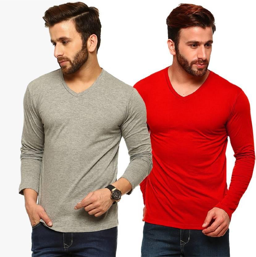 260ba8644 Tripr Solid Men s V-neck Grey