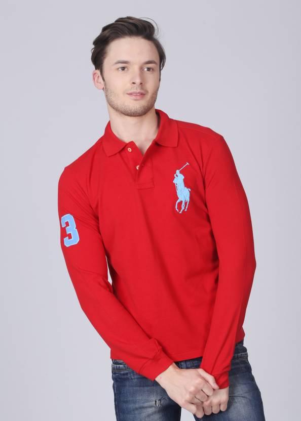 Ralph Solid T Lauren Red Neck Shirt Polo Men's OPXuiTkZ