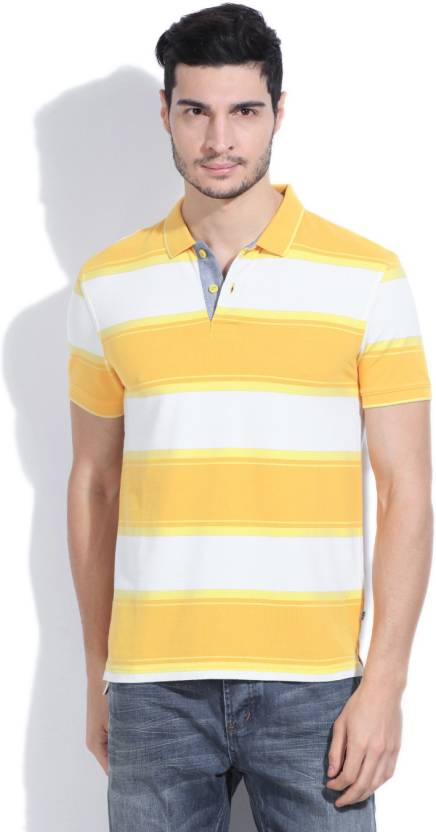 Polo Neck White Yellow T Shirt