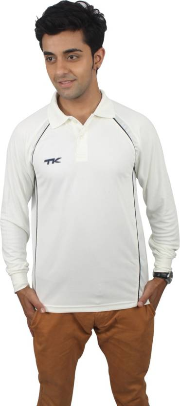 87fc92e7ebae TK Solid Men's Polo Neck White T-Shirt - Buy Off White TK Solid ...