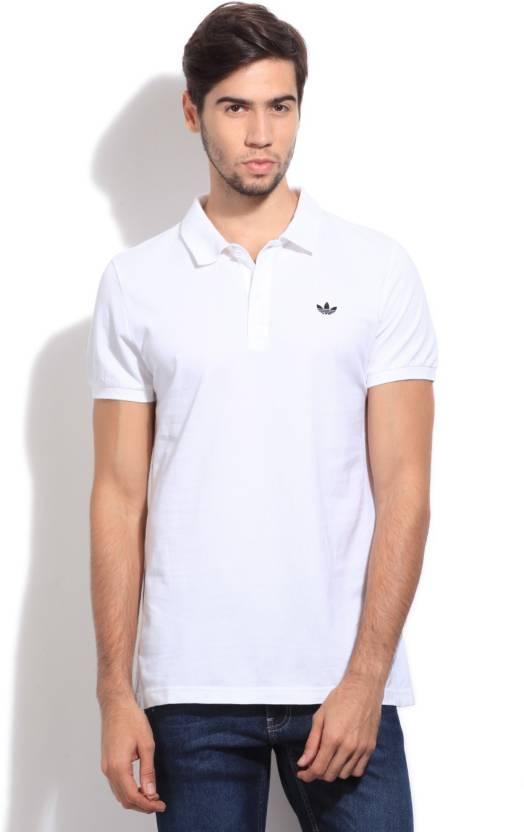 Adidas Originals Solid Men S Polo Neck White T Shirt Buy Wht