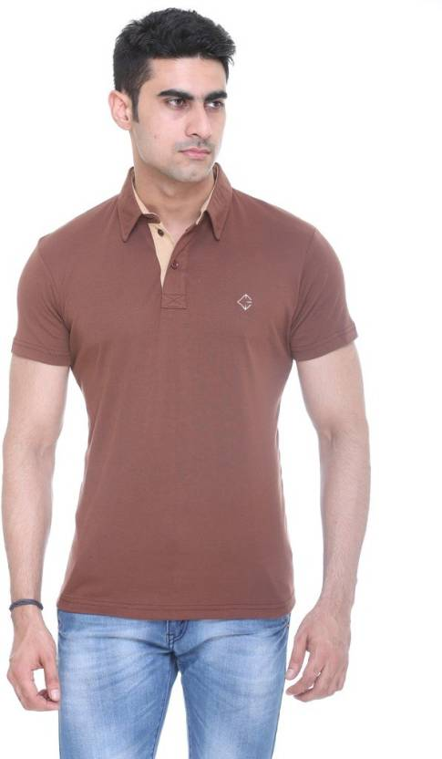 f6192a4a39c9 Colors & Blends Solid Men's Polo Neck Brown T-Shirt - Buy Coffee ...