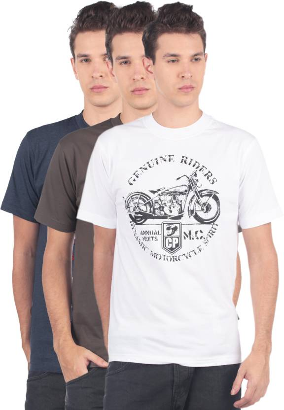 74922ca8 Classic Polo Printed Men's Round Neck Brown, White, Blue T-Shirt (Pack of 3)