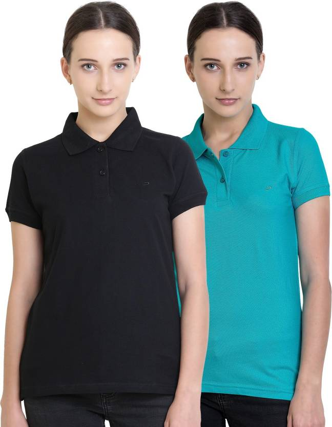 d1148ca0 Polo Nation Solid Women's Polo Neck Black, Light Blue T-Shirt (Pack of 2)