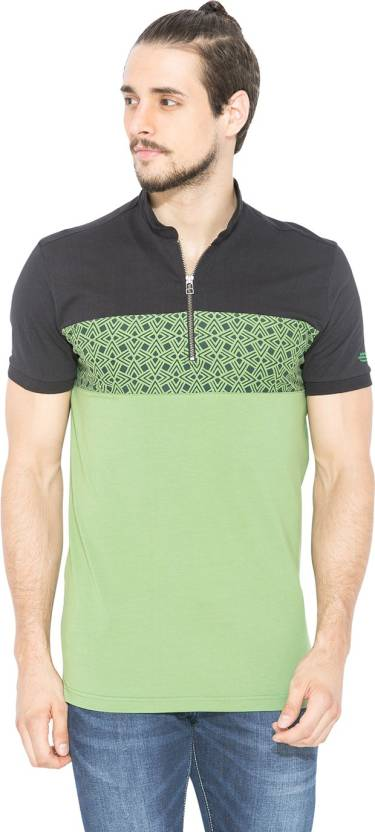 6af84cd28cd5 Status Quo Solid Men's Polo Neck Green, Black T-Shirt - Buy Green ...