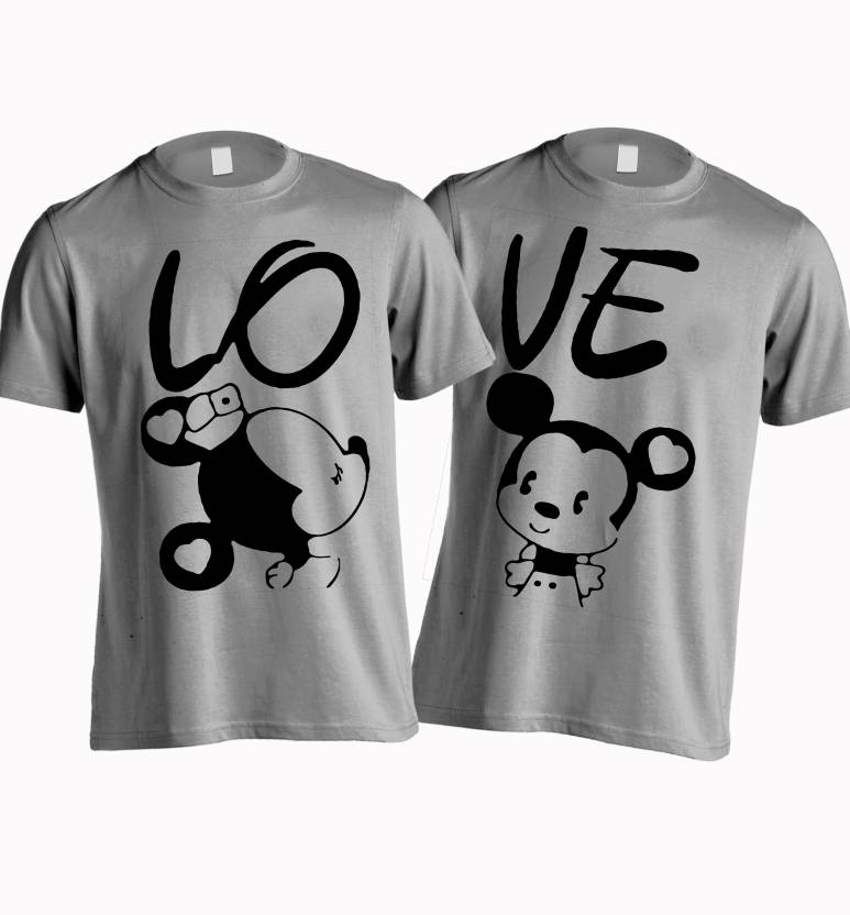 Young trendz printed men 39 s round neck grey t shirt buy for Buy couple t shirts online india