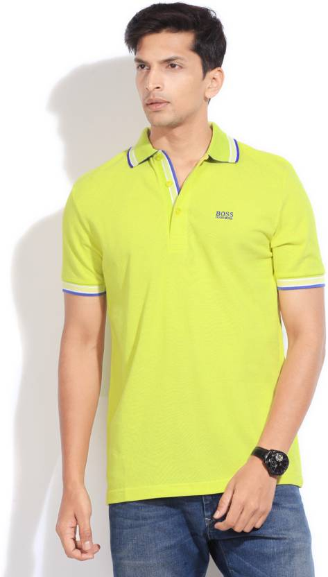 022076f4f Hugo Boss Solid Men's Polo Neck Yellow T-Shirt - Buy YELLOW Hugo Boss Solid  Men's Polo Neck Yellow T-Shirt Online at Best Prices in India | Flipkart.com