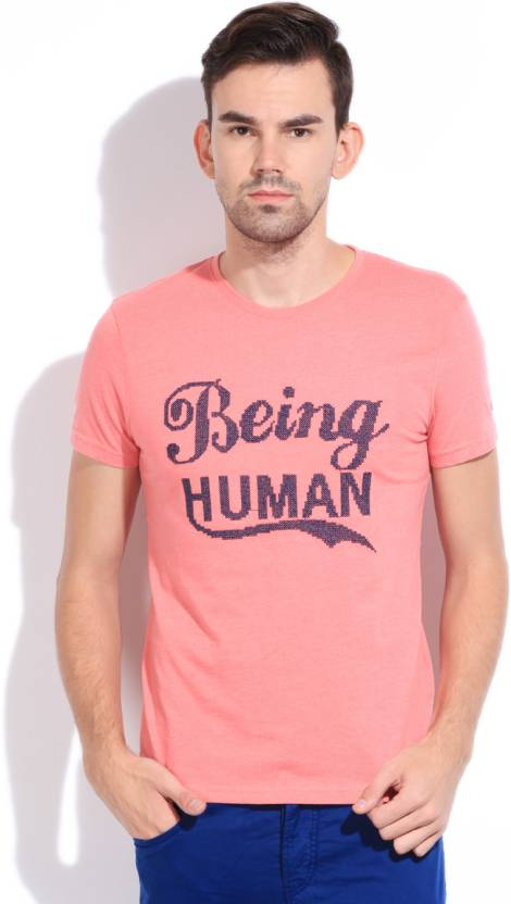 1e2b43bf7d66 Being Human Clothing Printed Men's Round Neck Pink T-Shirt - Buy PALE RED  Being Human Clothing Printed Men's Round Neck Pink T-Shirt Online at Best  Prices ...