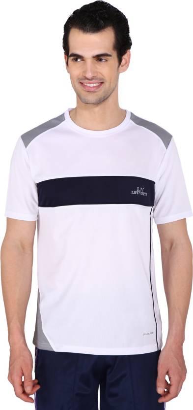 e2a44cfb99 Life Verti Striped Men's Round Neck White, Blue T-Shirt - Buy bright ...