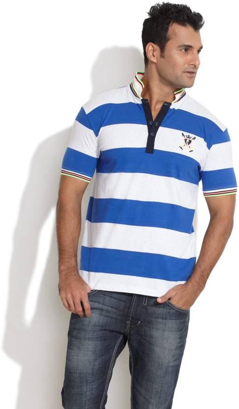 b371fa1d04 Stride Striped Men's Polo Neck Dark Blue, White T-Shirt - Buy Dark Blue  Stride Striped Men's Polo Neck Dark Blue, White T-Shirt Online at Best  Prices in ...