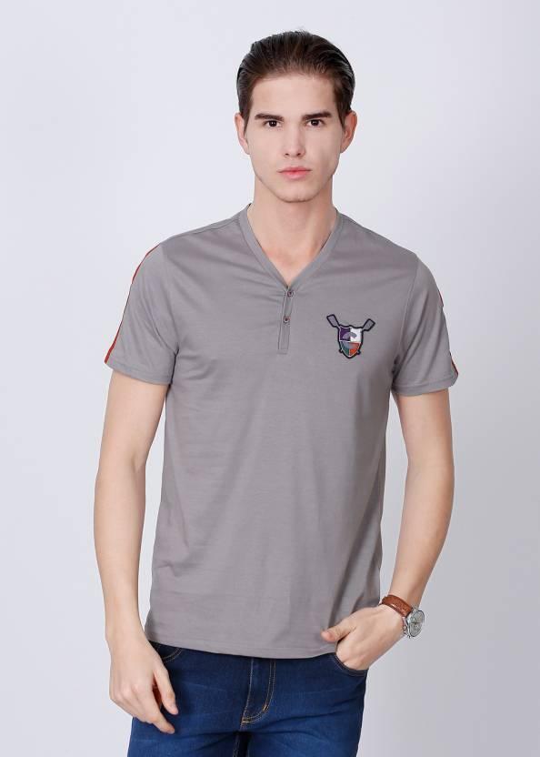a04752abcad2 Freecultr Solid Men's Henley Grey T-Shirt - Buy Grey Freecultr Solid ...