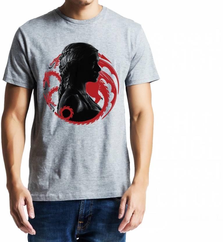 Baklol Printed Men's Round Neck Grey T-Shirt