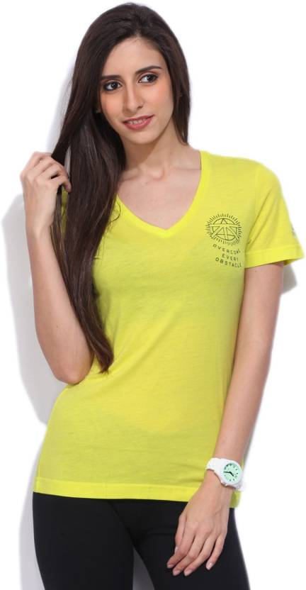 5b968b970 REEBOK Self Design Women V-neck Yellow T-Shirt