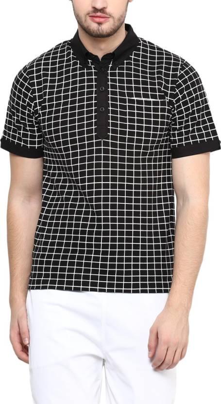 bebe3ecd1 Hypernation Checkered Men's Polo Neck Black T-Shirt - Buy Black Hypernation  Checkered Men's Polo Neck Black T-Shirt Online at Best Prices in India ...