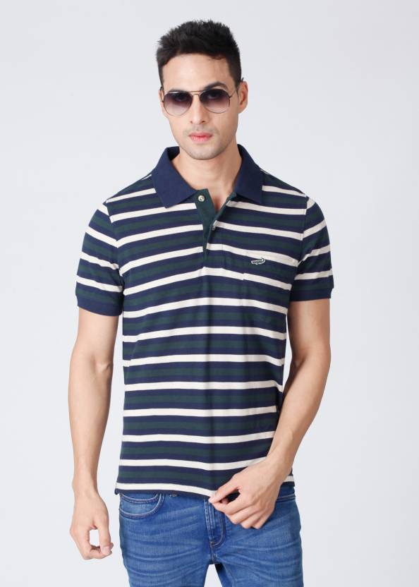 aa653f64 Crocodile Striped Men's Polo Neck Green, Blue T-Shirt - Buy Blue, Green  Crocodile Striped Men's Polo Neck Green, Blue T-Shirt Online at Best Prices  in India ...