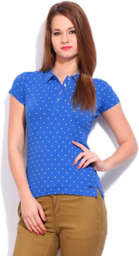 Flying Machine Printed Women's Polo Neck Blue T-Shirt