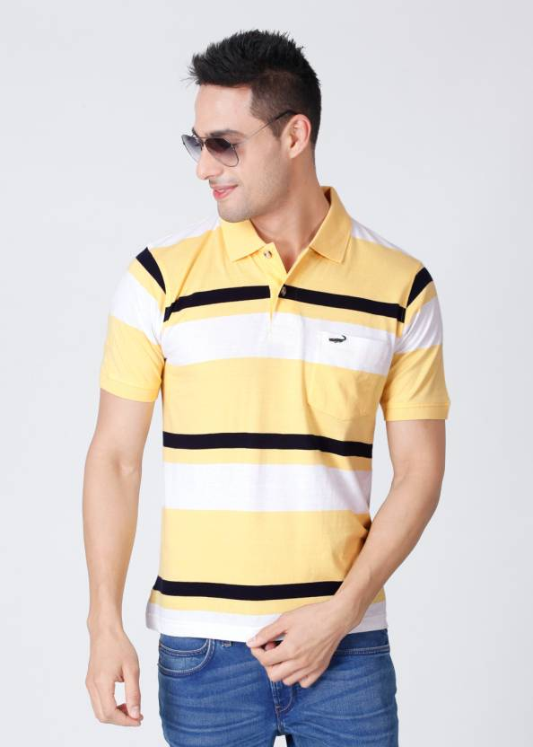 b41e5674 Crocodile Striped Men's Polo Neck White, Black, Yellow T-Shirt - Buy White,  Black, Yellow Crocodile Striped Men's Polo Neck White, Black, Yellow T-Shirt  ...