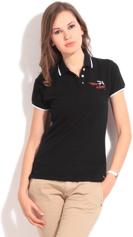 f2c872d6db5 Being Human Clothing Solid Women's Polo Neck Black T-Shirt - Buy BLACK  Being Human Clothing Solid Women's Polo Neck Black T-Shirt Online at Best  Prices in ...