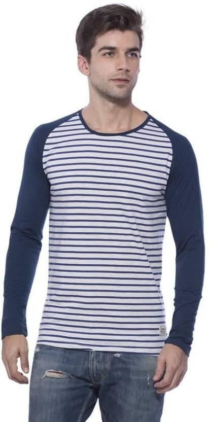 Alan Jones Striped Men's Round Neck Dark Blue T-Shirt