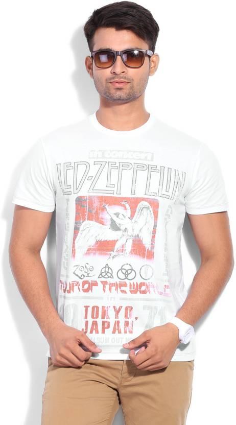 d1881f6d Led Zeppelin Printed Men's Round Neck White T-Shirt - Buy WHITE Led ...
