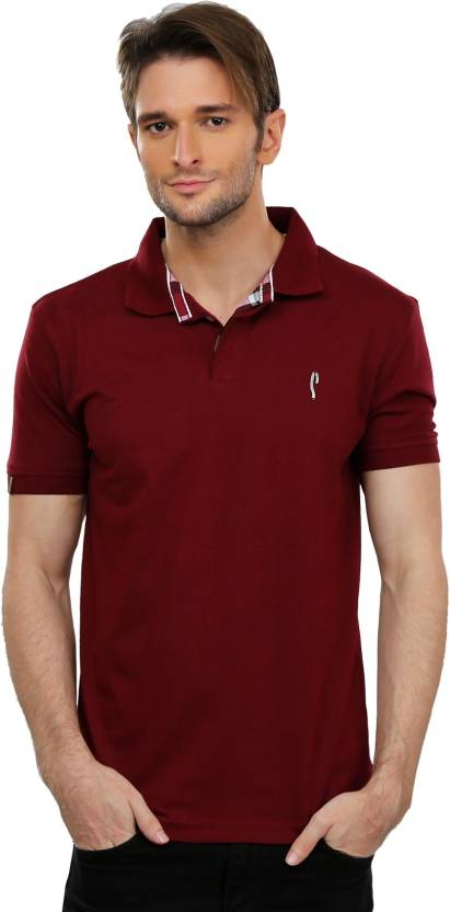 b30c57e93f5 Stride Solid Men s Polo Neck Maroon T-Shirt - Buy Maroon Stride Solid Men s  Polo Neck Maroon T-Shirt Online at Best Prices in India