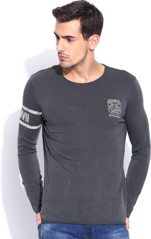 b464eb6e Being Human Clothing Printed Men's Round Neck Grey T-Shirt - Buy Grey Being  Human Clothing Printed Men's Round Neck Grey T-Shirt Online at Best Prices  in ...