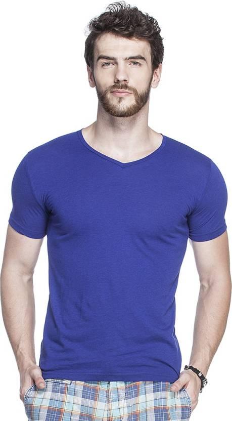 7bff9834c Tinted Solid Men's V-neck Blue T-Shirt - Buy Royal Blue Tinted Solid Men's V -neck Blue T-Shirt Online at Best Prices in India   Flipkart.com