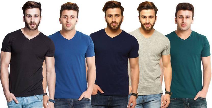 Tripr Solid Men's V-neck Multicolor T-Shirt