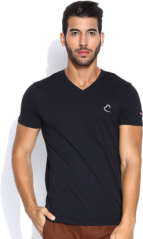 6da4f0b3 Being Human Clothing Solid Men's V-neck Black T-Shirt - Buy Black Being  Human Clothing Solid Men's V-neck Black T-Shirt Online at Best Prices in  India ...