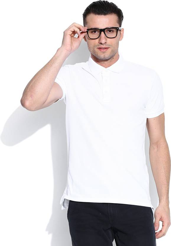 United Colors of Benetton Solid Men's Polo Neck White T-Shirt