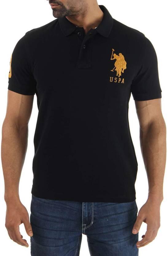 U s polo assn solid men 39 s polo neck black t shirt buy Us polo collar t shirts