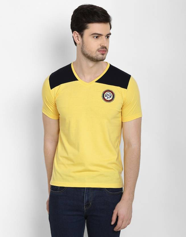 06723d4c9a60 Freak'N by Cotton County Solid Men's V-neck Yellow T-Shirt - Buy Beautiful  Yellow, Lovely Black Freak'N by Cotton County Solid Men's V-neck Yellow T- Shirt ...