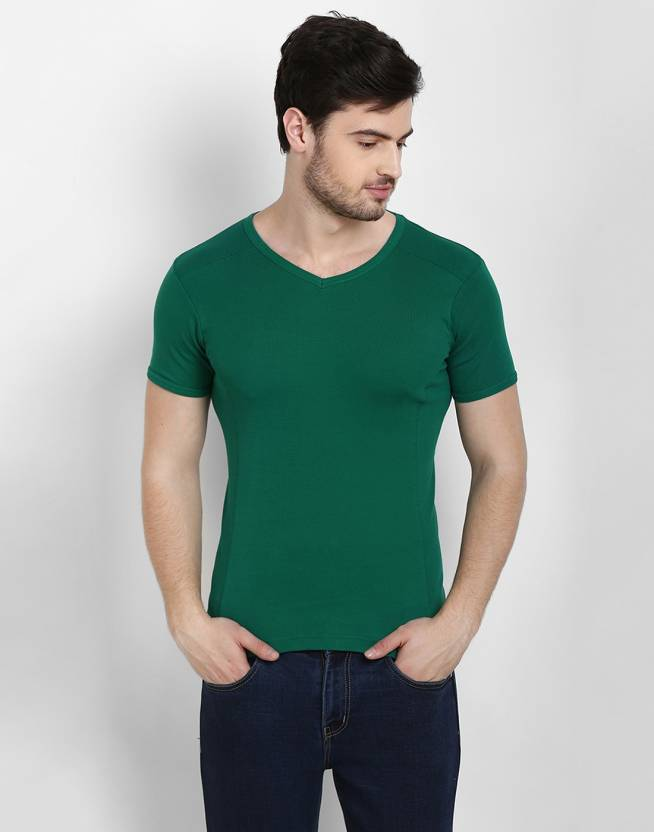 b8442ece Cotton County Premium Solid Men's V-neck Green T-Shirt - Buy Chic Dark Green  Cotton County Premium Solid Men's V-neck Green T-Shirt Online at Best  Prices in ...