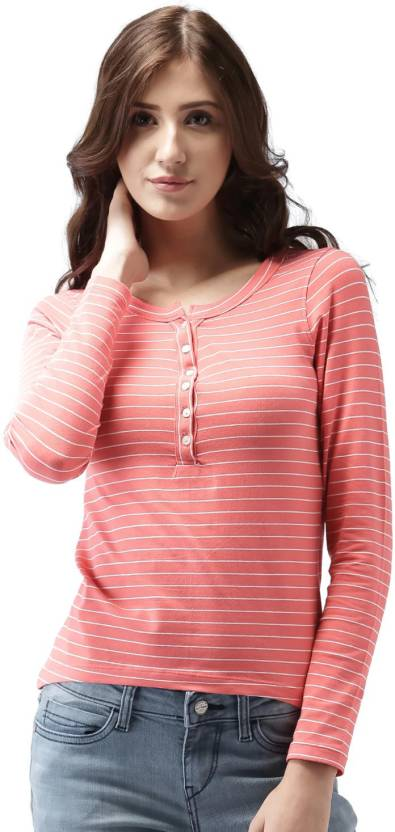 88954ecbd Mast & Harbour Striped Women's Henley Pink, White T-Shirt - Buy Pink, White  Mast & Harbour Striped Women's Henley Pink, White T-Shirt Online at Best  Prices ...