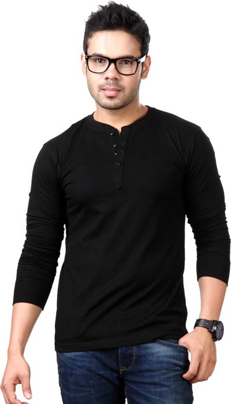 Top Notch Solid Mens Henley Black T-Shirt